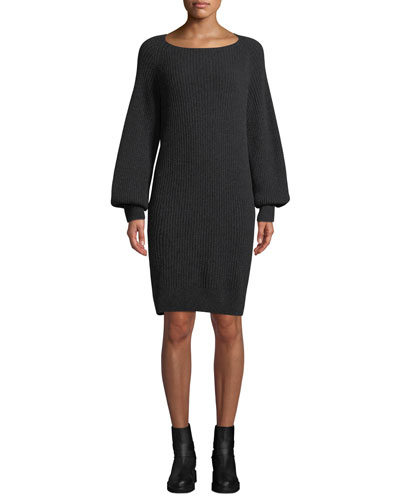 Ribbed Long-Sleeve Wool-Cashmere Dress