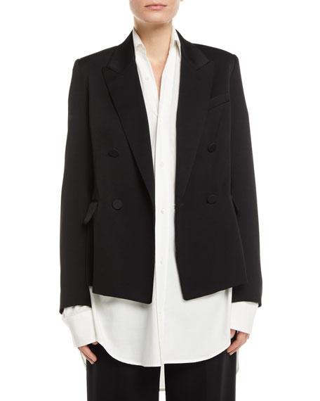 Double Breasted Tuxedo Jacket in Black