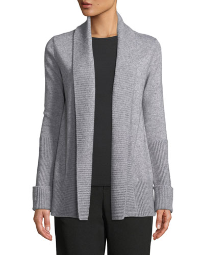 Wide-Collar Open-Front Wool-Cashmere Cardigan