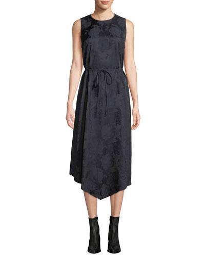 Rose Jacquard Sleeveless Asymmetric Midi Dress