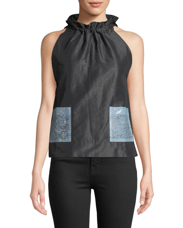 Paskal Sleeveless Tie Neck A Line Pocket Blouse Neiman Marcus