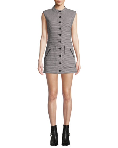 Leigh Houndstooth Button-Front Mini Dress