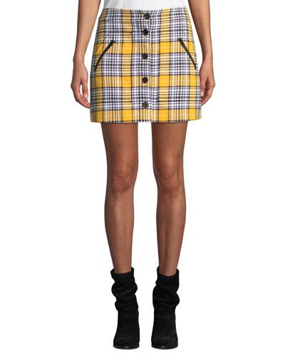 Monroe Plaid Button-Front Mini Skirt