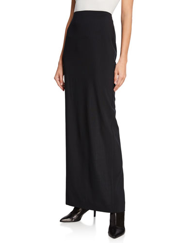 Washable Wool High-Rise Long Skirt