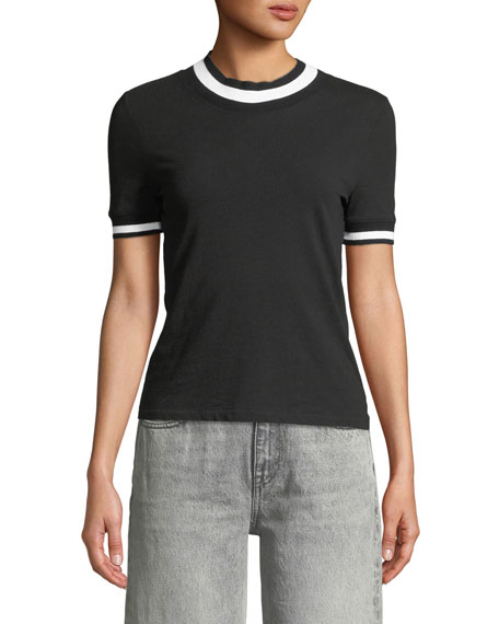 Twist Jersey Short-Sleeve Tee with Striped Trim