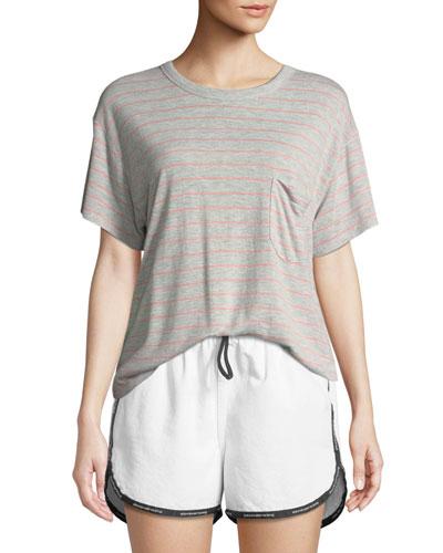Thin Striped Slub Short-Sleeve Tee with Pocket