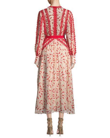 Printed Chiffon Lace Pleated Long-Sleeve Midi Dress