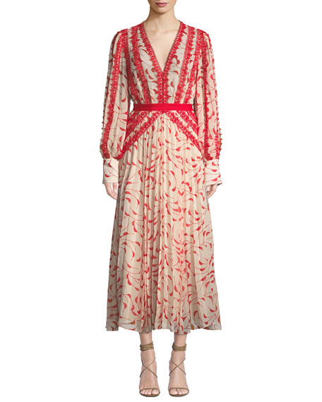 Crescent Guipure Lace-Trimmed Pleated Printed Chiffon Maxi Dress in Red