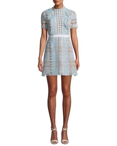Spiral Powder Blue Guipure Lace Dress in Light Blue