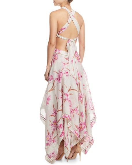 38e0f10f105f Image 2 of 2  Corsage Floral Cutout Scarf Maxi Dress
