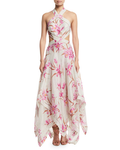 Corsage Floral Cutout Scarf Maxi Dress