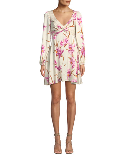 Corsage Knot-Front Floral Short Cocktail Dress