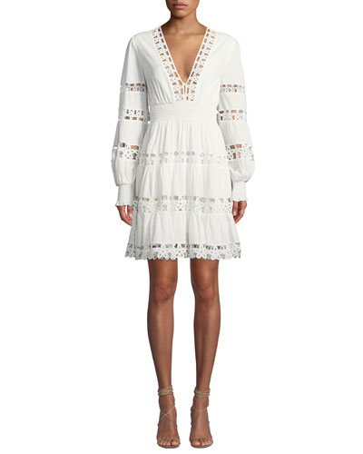 Primrose Daisy Embroidered Long-Sleeve Short Dress