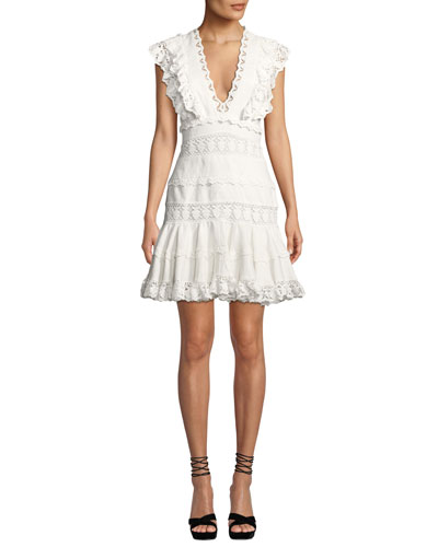 Wayfarer Paneled Lace Flutter Short Dress