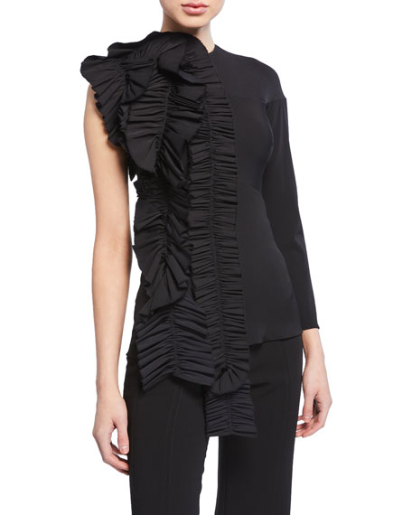 A.w.a.k.e. Tops ONE-SLEEVE TOP W/ DRAMATIC RUFFLE