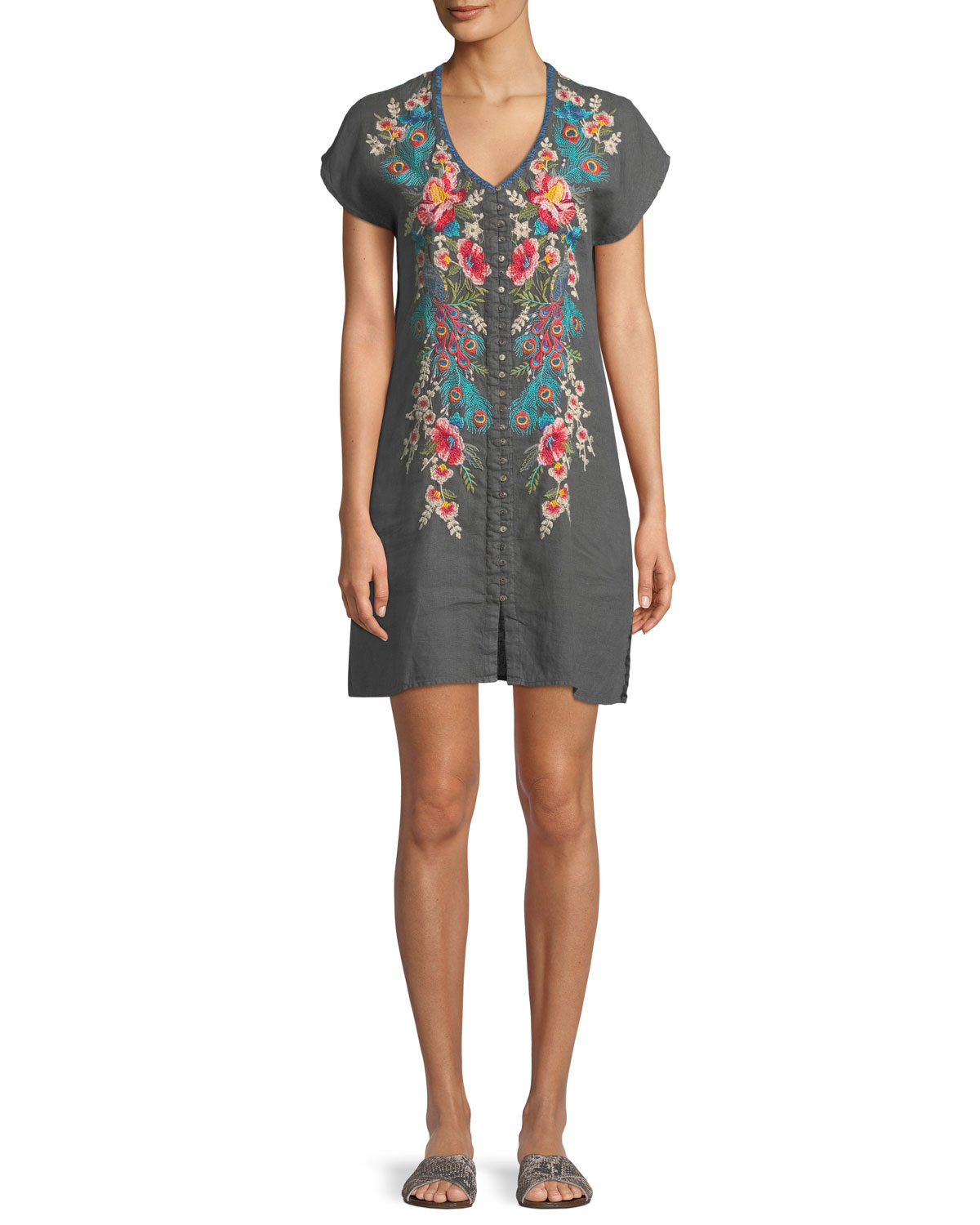9317cb358582 Johnny Was Petite Vernazza Embroidered Tunic Dress