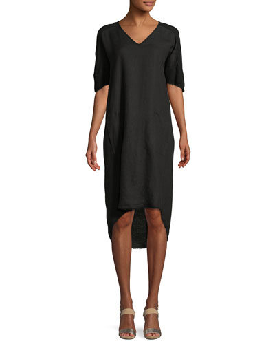 Raw-Edge High-Low Linen Dress