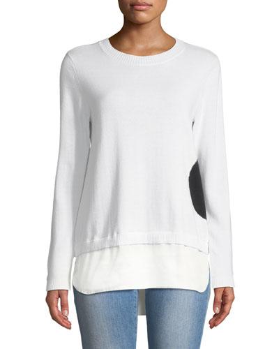 Dot Sweater with Shirting Hem, Plus Size