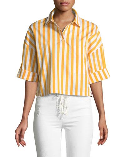 The Keaton Striped Cropped Short-Sleeve Shirt