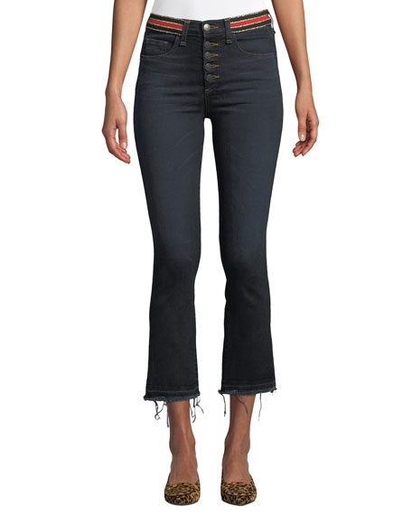 Carolyn High-Rise Cropped Jeans With Striped Waistband in Dark Slate