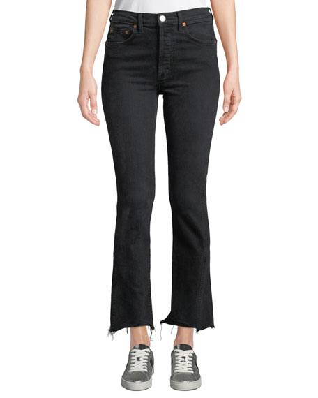 High-Rise Double-Needle Frayed Ankle Jeans in Black