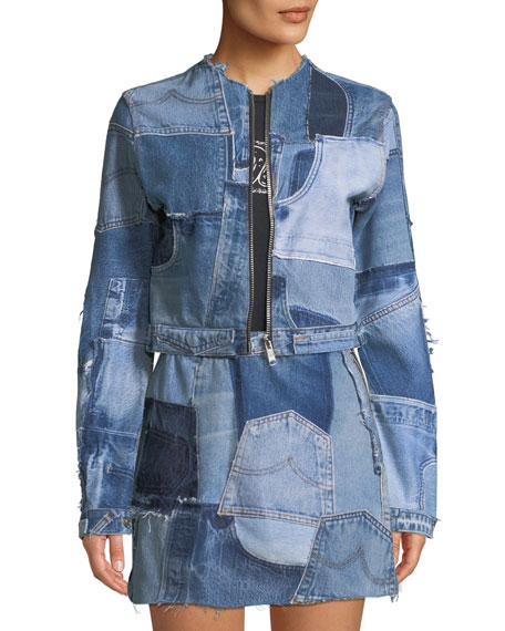 Patchwork Cropped Zip-Front Denim Jacket