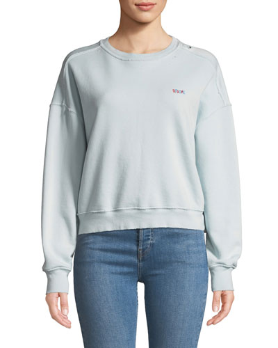 Distressed Crewneck Pullover with Embroidery