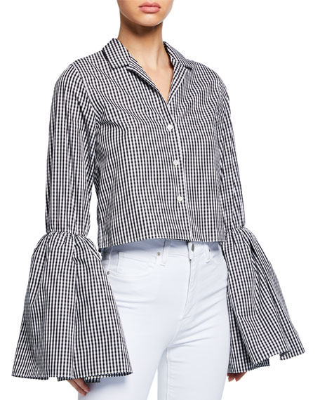 Anais Jourden Cropped Bell-Sleeve Gingham Button-Up Top
