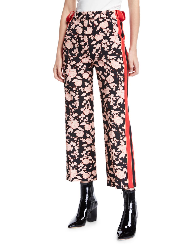 ff006e5ea17 PINKO Floral-Print Sporty Side-Stripe Ankle Pants