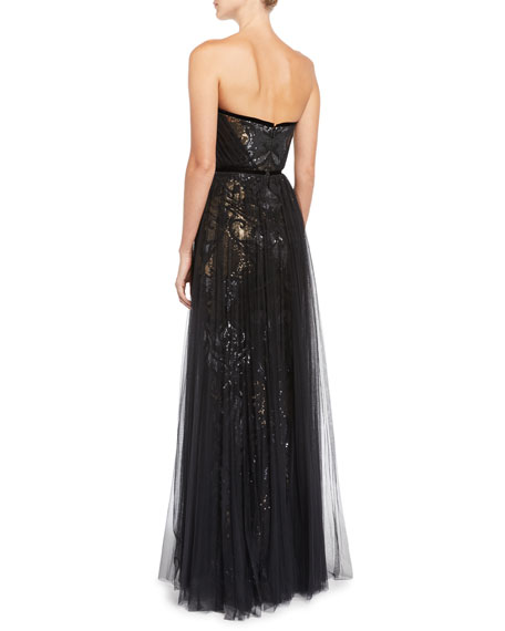 Sequin & Tulle Pleated Strapless Gown