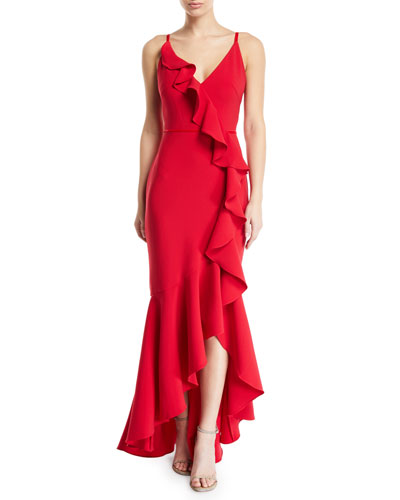 Cascading Ruffle High-Low Gown in Crepe