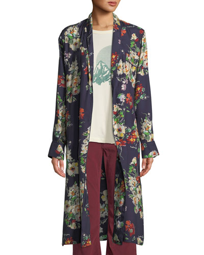 The Robe Floral Open-Front Long Jacket