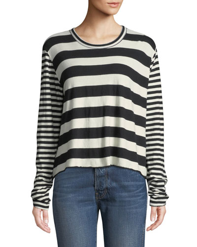 Striped Long-Sleeve Cropped Tee