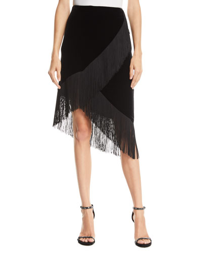 Jordan Fringed Stretch Velvet Skirt