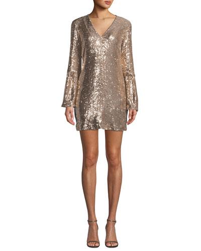 Sestina Sequin Long-Sleeve Mini Dress