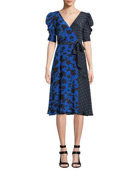 Alice + Olivia Siona Puff-Sleeve Midi Dress