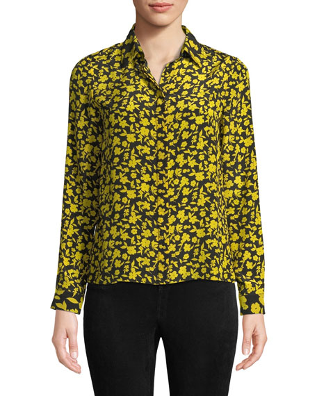 Alice + Olivia Willa Floral Print Silk Shirt
