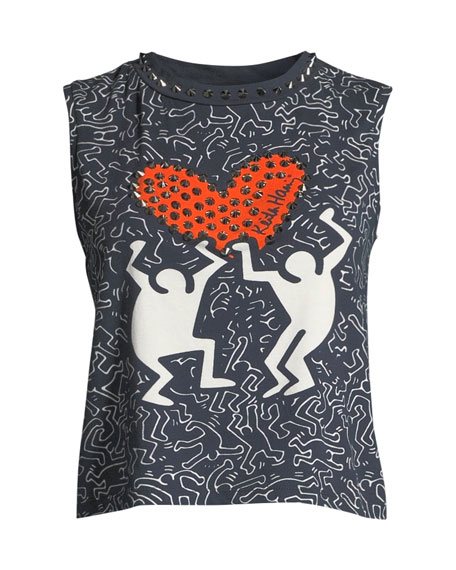 ALICE AND OLIVIA Cottons KEITH HARING X ALICE + OLIVIA CICELY STUDDED SLEEVELESS TEE