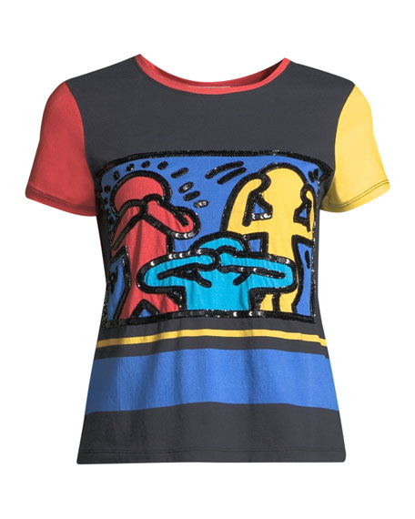 ALICE AND OLIVIA Cottons KEITH HARING X ALICE + OLIVIA RYLYN EMBROIDERED SHORT-SLEEVE CREWNECK TEE