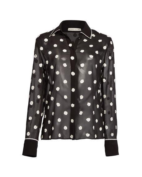 Vina Embellished Button-Down Sheer Top