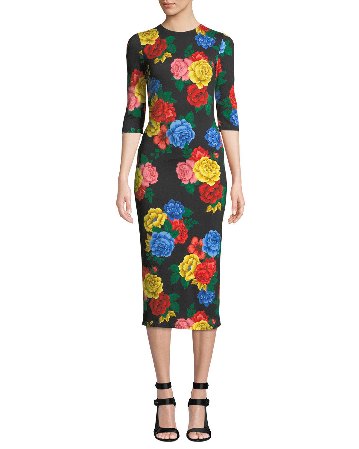 Alice Olivia Delora Fitted Floral Crewneck Dress