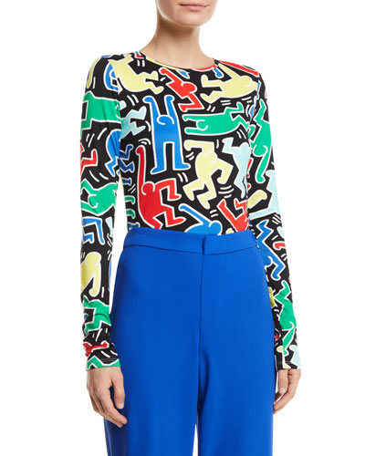 Keith Haring x Alice + Olivia Delaina Long-Sleeve Crewneck Crop Top