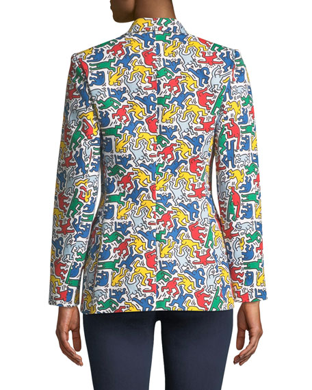 ALICE AND OLIVIA Cottons KEITH HARING X ALICE + OLIVIA MACEY PRINTED NOTCH-COLLAR BLAZER
