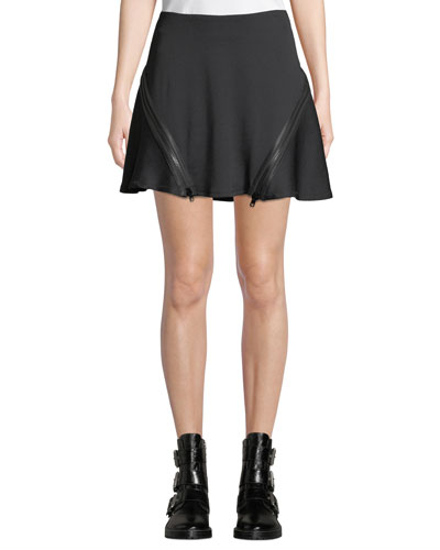 Zip Flare Ribbed Mini Skirt