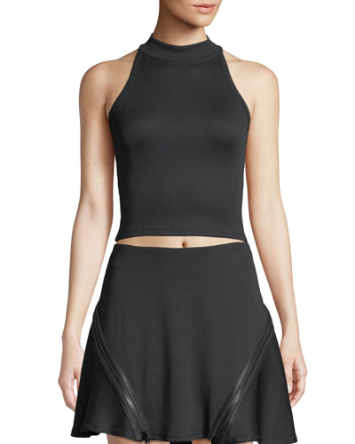 Zip-Back Fitted Ribbed Tank