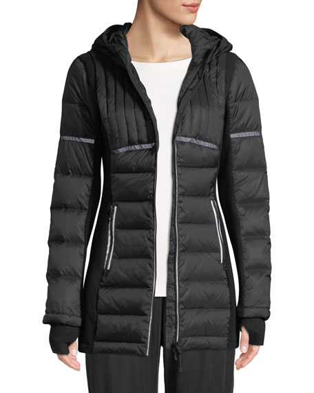 BLANC NOIR Reflective Inset Featherweight Parka Puffer Jacket in Black