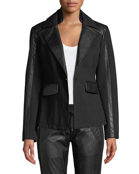 Blanc Noir Castro Ponte Leather Lace-Up Blazer