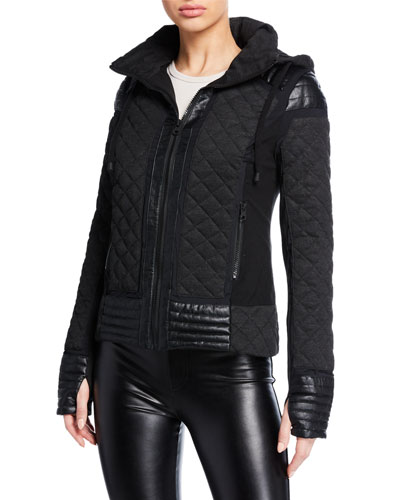 Hooded Mesh Inset Moto Active Jacket