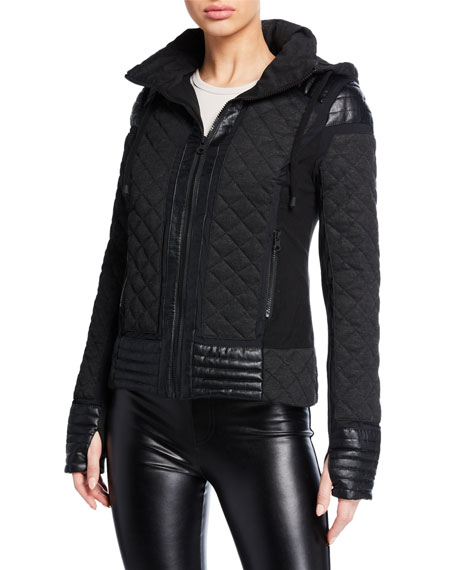Blanc Noir HOODED MESH INSET MOTO ACTIVE JACKET