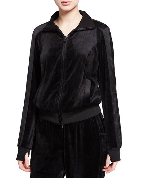 Blanc Noir Posh Velour Zip-Front Track Jacket